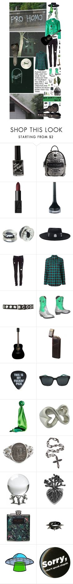 """My music helps to save the nature: cemetery night for all the vegetarian punks is available in your hell."" by nothingisnormal ❤ liked on Polyvore featuring MCM, NARS Cosmetics, TONYMOLY, Hot Topic, Levi's, Golden Goose, Topshop, Yamaha, Burberry and NOVICA"