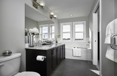 Duplex Showhome - Vesta Collection at Coopers Crossing in Airdrie Alberta Vanity, Bathroom, Collection, Home, Design, Dressing Tables, Washroom, Powder Room, Vanity Set