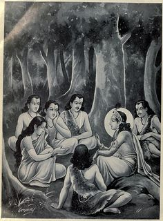 It is said that when Draupadi was once praying for a husband, she asked that her husband be: 1) Righteous and good 2) Strong and brave 3) A great warrior 4) Good looking 5) Handsome Lord Shiva told her that no one man can have all the 5 qualities. But as usual Drupadi highly stubborn and egoistic would not relent, Lord Shiva granted her wish. Except she had to be the wife of 5 brothers- each Pandav brother had one of the qualities she desired.
