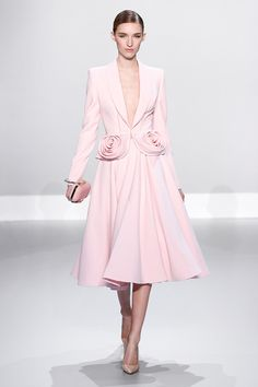 Ralph & Russo - Haute Couture Collection S/S14 - Look 22: Pale pink silk wool jacket with rosette and flared skirt