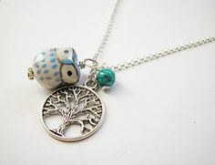 Owl, Tree of life necklace by RobertaValle