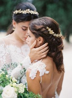 Wedding Hairstyles Inspiration : Two Brides in an Italian Villa wearing Romantique by Claire Pettibone Rosemary low back wedding dress and Winona long sleeves. see more: romantique. Lesbian Wedding, Wedding Couples, Wedding Photos, Wedding Vans, Wedding Attire, Wedding Dresses, Two Brides, Cute Lesbian Couples, Marie