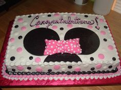 minnie mouse cake | Minnie Mouse themed Baby Shower cake. Buttercream with Fondant accents ...