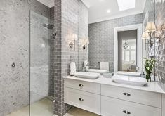 Textures & colour ideas for bathroom This Hamptons style ensuite is designed by Amity Dry and built by Scott Salisbury Homes. Bathroom Renos, Laundry In Bathroom, Small Bathroom, White Bathrooms, Modern Bathroom, Bathroom Store, Ensuite Bathrooms, Classic Bathroom, Large Bathrooms
