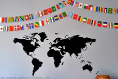 Flags of the world to decorate the kids room