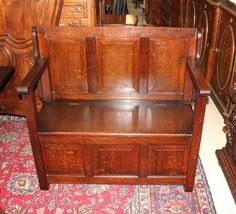 Beautiful Antique English Oak Arts & Crafts Bench / Settee / Table / Sto... - $1,140.00