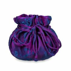 Drawstring Jewelry Pouch (Medium) - Silk Jacquard (Violet) Red Blossom. $11.95