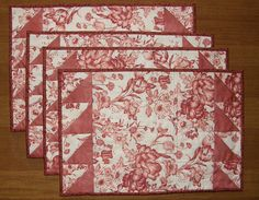 Quilted Place Mats Pink Salmon Cream Pink Salmon Floral Toile