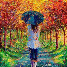Girl holding Umbrella with leaves falling from Trees Art
