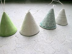 ceramic bells - for Christmas trees - or just because! Ceramic Jewelry, Ceramic Clay, Ceramic Pottery, Ceramics Projects, Clay Projects, Handmade Tiles, Handmade Pottery, Kids Clay, Pottery Classes