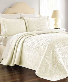Martha Stewart Collection Flowering Trellis Ivory Bedspreads | macys.com