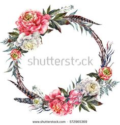 Watercolor Floral Wreath Made of Peonies, Leather Leaves, Pheasant Feathers and Twigs, Isolated on White Background. Vintage Style Wedding Decoration.