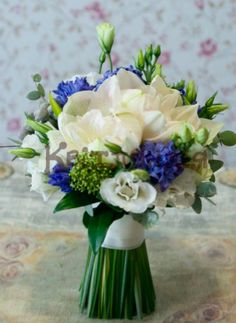 White and blue  wedding flower bouquet, bridal bouquet, wedding flowers, add pic source on comment and we will update it. www.myfloweraffair.com can create this beautiful wedding flower look.