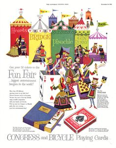 Congress and Bicycle playing cards ad from Saturday Evening Post November 1954 Magic Store, Saturday Evening Post, Bicycle Playing Cards, Fun Fair, Children's Book Illustration, Print Ads, Mini Books, Vintage Advertisements, Journals