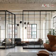 Kombinieren Sie Ihre Axis Pivot Tür mit Fix-Elementen oder Schiebetüren. Architecture, Interior, Room, Furniture, Home Decor, Architecture House Design, Contemporary Design, Homes, Arquitetura