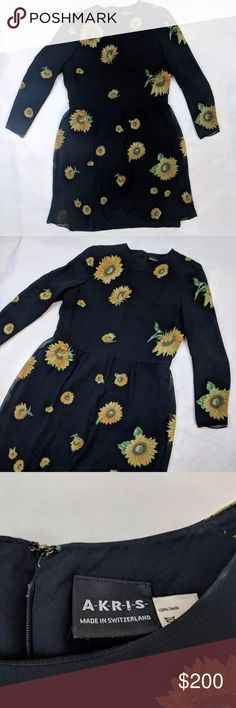 Akris Winter Floral Sunflower Dress Size 12 Like New Condition Definition - Clothing is assumed to be used, shows no visible signs of wear, see photos  D0050 Akris Dresses Midi
