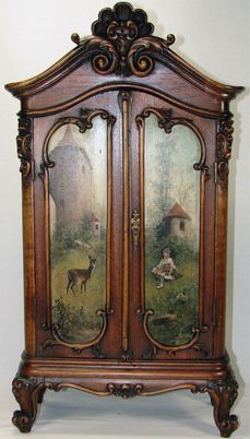 french antique hand carved armoire. RARE Antique Black Forest Carved Hunt Themed Miniature Armoire, Them Oil Painting Doors French Hand Armoire R