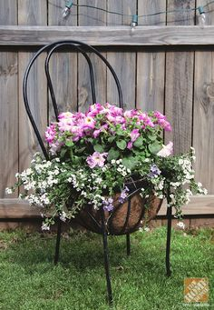 Container Gardening Ideas - 4 Ways to Create Beautiful Pots Container Flowers, Container Plants, Container Gardening, Garden Chairs, Garden Pots, Flower Bed Designs, Chair Planter, Wrought Iron Chairs, Modern Plant Stand