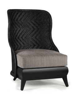 BOX JAQUETA WING CHAIR - Woven Leather Back with Twead Pearl Fabric Upholstery