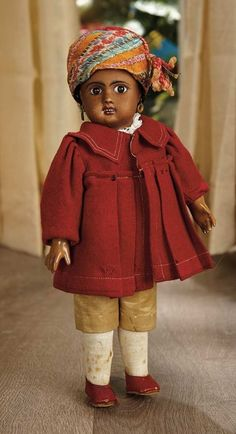 Sanctuary: A Marquis Cataloged Auction of Antique Dolls - March 19, 2016: Petite French Brown-Complexioned Bisque Bebe by Jules Steiner