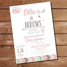Bows or Arrows Gender Reveal Invitation - Tribal Gender Reveal Invitation - Instant Download + Editable File - Personalize with Adobe Reader