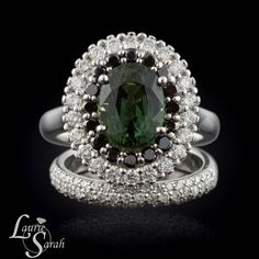Sapphire Ring, Green Sapphire Engagement Ring Wedding Set with Black and White Diamonds - LS1461
