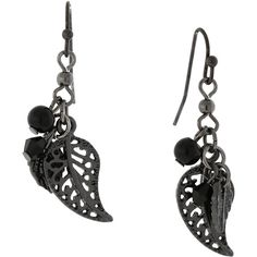 1928 Jewelry Black-tone Leaf Drop Earrings ($13) ❤ liked on Polyvore featuring jewelry, earrings, black, 1928 jewelry, filigree earrings, beaded dangle earrings, beading jewelry and leaves earrings