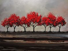 CUSTOM Original Art Abstract Painting Red Trees Large Textured Modern Autumn Fall Tree Landscape Canvas Wall Art-Christine - Christine Krainock Art - Contemporary Art by Christine - 1