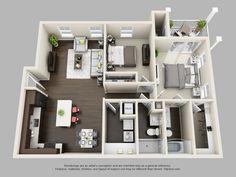 Cyan 2 Bedrooms/2 Bathrooms 1169 sq. ft.