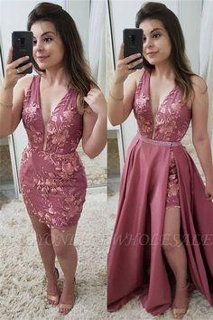 Strap Sheath Detachable-skirt V-neck Beading Applique Prom Dress Backless Homecoming Dresses, V Neck Prom Dresses, Sexy Dresses, Evening Dresses, Casual Dresses, Summer Dresses, Wedding Dresses, Casual Wear, Pink Dresses