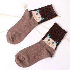 Forest Cat Wool Blend Socks