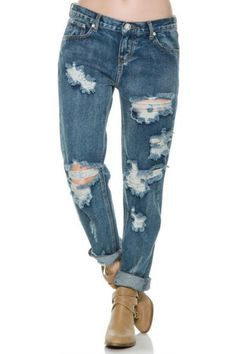 Five pocket boyfriend jeans. Relaxed, baggy fit. Tapering toward ankle. Distressing and ripped detail throughout. Inseam: 25 inches. Size & Fit Guide.   Awesome Baggie 1955 by One Teaspoon. Clothing - Bottoms - Jeans & Denim - Distressed Clothing - Bottoms - Jeans & Denim - Boyfriend Las Vegas