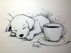 "Coffee Doggy tracerhank.deviantart.com ""No coffee can keep this little one awake."" Line art: Sakura Micron pigma pens and Copic pigma pens. Grey tones: Chartpak alcohol markers."