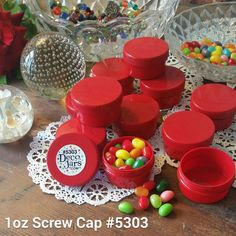 20  New 1oz RED Jars RED Caps Plastic Container Party Favors 5303  DecoJars USA #DecoJars