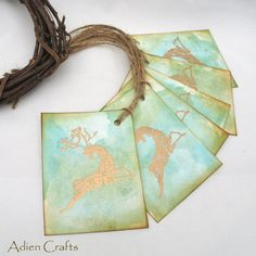 Items similar to Christmas Gift Tags Gold Reindeer Christmas Labels Xmas Reindeer tags Embossed Tags on Etsy Turquoise Christmas, Green Christmas, Christmas Gift Tags, Christmas Items, Reindeer Christmas, Watercolor Effects, Distress Ink, Gift Wrapping, Handmade Gifts
