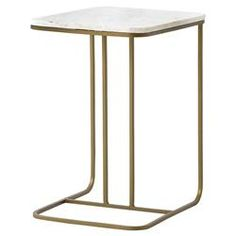 Lanet Regency Tuck Matte Brass White Marble End Table   Kathy Kuo Home