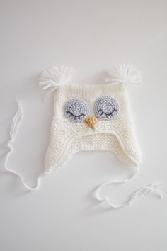 """Baby Hat """" Owl"""" knitted of half wool kids yarn for age months . Can be used as a Photo shoot props for the baby , and for daily walks Baby Hats Knitting, Crochet Hats, Knitted Baby, Kids Hats, Knitting Projects, Crochet Bikini, Owl, Trending Outfits, 3 Months"""