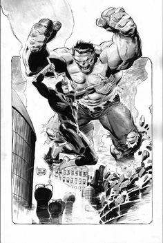 Hulk v Daredevil by Lee Weeks Comic Art