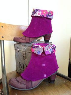 Guêtres en velours violet / revers en tissu japonais