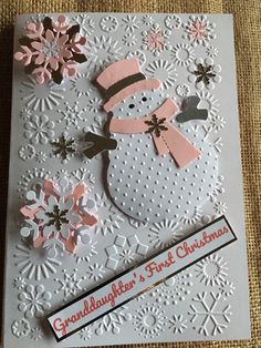 Excited to share this item from my #etsy shop: Christmas Card - Babies First Christmas Pink Snowman Snowflakes Handmade Handcrafted Greetings Card Granddaughter Sister Niece Homemade Christmas Cards, Christmas Cards To Make, Pink Christmas, Xmas Cards, First Christmas, Handmade Christmas, Holiday Cards, Christmas Snowman, Gift Cards