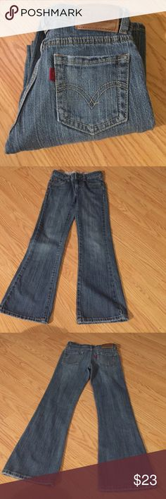 """Levi's Jeans Levi's Jeans Unfortunately, the tag was removed because it bothered my niece. But I've measured them.  Measurements are as follows: waist is adjustable but at it's largest laying flat it is 12"""" (24"""" total) inseam 23"""" Levi's Bottoms Jeans"""
