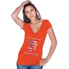 Majestic Threads San Francisco Giants Ladies Stars & Stripes Tri-Blend V-Neck T-Shirt - Orange