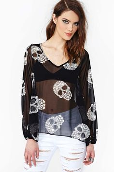 nasty gal. split skulls top. #fashion