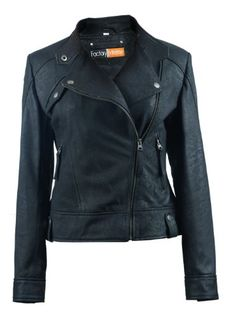 FactoryExtreme Starlight Womens Black Biker Leather Jacket Large Black *** Want additional info? Click on the image.