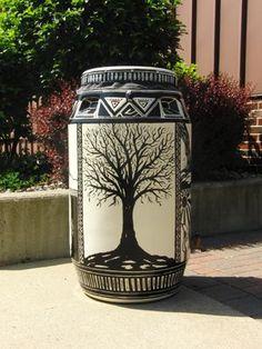 Rain Barrel Art by Wawasee High School 55 Gallon Plastic Drum, Seamless Gutters, Water From Air, Water Barrel, Rain Collection, Garden Compost, Rainwater Harvesting, Water Conservation, Yard Art