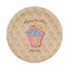 "Colorful Party Birthday Cupcake Paper Plates 7"" - home gifts ideas decor special unique custom individual customized individualized"