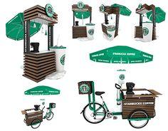 Starbucks Kiosk , Trike on Behance Food Stall Design, Food Cart Design, Food Truck Design, Cafe Shop Design, Kiosk Design, Store Design, Mobile Coffee Cart, Mobile Food Cart, Coffee Carts