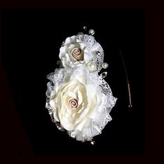The Champagne and Ivory Lace Side Tiara is a gorgeous, wedding headpiece featuring two ivory lace & champagne satin flower, accented with crystal & pearls Satin Flowers, Wedding Accessories, Floral Wedding, Headpiece, Champagne, Sparkle, Ivory, Chanel, Brooch