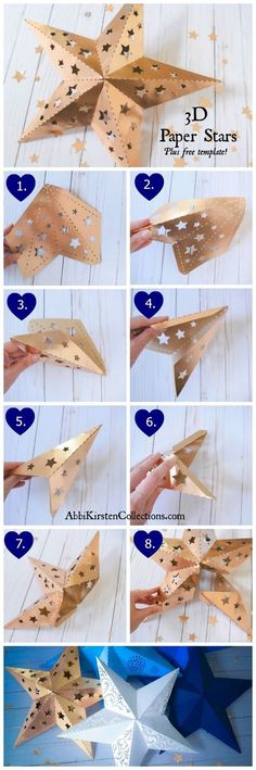 Wedding Lanterns, 3D Paper Stars, Free DIY Printable Star Templates. Star Lanterns