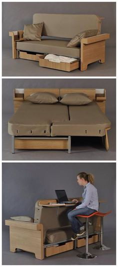 smart furniture 3 in 1 multifunctional furniture by Fanny Adam // how awesome would this be for a small vacation home or dorm room! Multifunctional Furniture, Smart Furniture, Modular Furniture, Space Saving Furniture, Sofa Furniture, Furniture Design, Furniture Ideas, Furniture Websites, Inexpensive Furniture